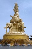 Bodhisattva Puxian, also known as Samantabhadra, is the protector of Mount Emei). Samantabhadra is a Bodhisattva in Mahayana Buddhism associated with Buddhist practice and meditation. In China he is associated with action. At 3,099 metres (10,167 ft), Mt. Emei is the highest of the Four Sacred Buddhist Mountains of China. The patron bodhisattva of Emei is Samantabhadra, known in Chinese as Puxian. 16th and 17th century sources allude to the practice of martial arts in the monasteries of Mount Emei.
